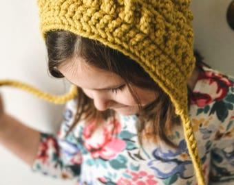 Toddler Bonnet - Kids Winter Hat - Photography prop hat - Crocheted hat - Kids bonnet - Vintage style - Boho toddler - Boho kids hat -