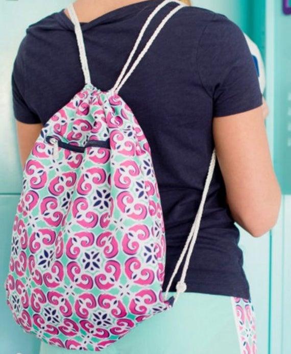 Drawstring Backpack - 4 colors - Gym Bag, Monogrammed