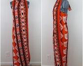 "1970s Hawaiian Pareo Wrap Dress - Vintage Tapa Design Hawaii - Waist 30"" (B7)"