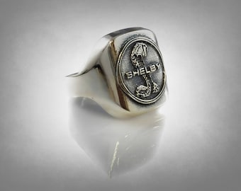 shelby car race mustang cobra Carroll Shelby sterling silver 925 ring