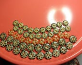 50 China Buttons -Vintage China Stencil Buttons -Bright Colors... made 1850 to 1930---  Excellent
