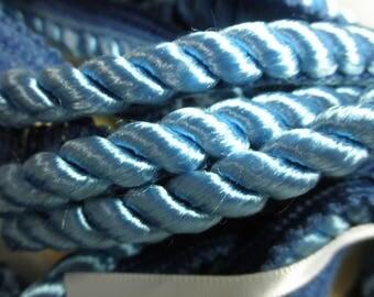 "Estate Notions --- 5   yds of  OCEAN BLUE Twist 3/8"" SATINY   Lip Cord - has Sheen  - Unused."