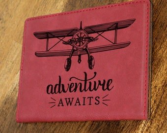 Passport Holder/Passport Cover/Adventure Awaits/Plane/Map/Airplane/Leatherette//Engraved/Color Choices