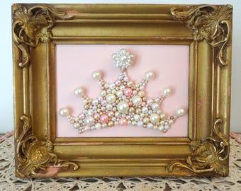 Princess Crown Wall Art.  Pearl Mosaic.  Blush Pink, Gold Ornate Framed Art.  Girls Nursery Decor.  Pink Crown, Tiara Art.  Gold Gesso Frame