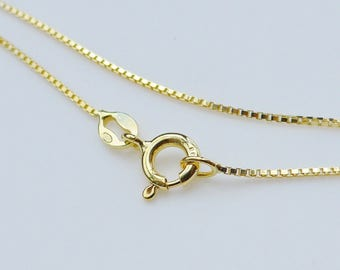 5 pc, 18 Inches, 1mm 18K Gold over 925 Sterling Silver Box Chain, Finished Chain - Made in Italy