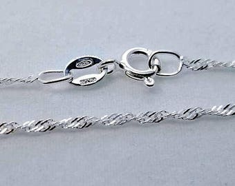 2 pc, 18 inch, 925 Sterling Silver Singapore Chain with Spring Clasp, 1.5mm - Made in Italy - NCF