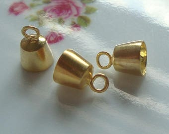 2 pcs, 9.5x6.7 mm, Handmade Gold Vermeil Sterling Silver End Caps, BC-0009