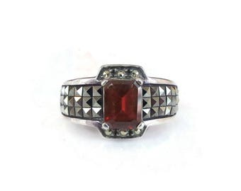 Judith Jack Sterling Garnet Ring - Marcasite Ring, Sterling Ring, January Birthstone, Vintage Ring, Size 8, AS IS