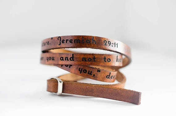 For I know the plans I have for you Jeremiah 29:11 - Ultra Long Leather Wrap Bracelet Leather Stacking Bracelet, Leather Cuff, Triple Wrap