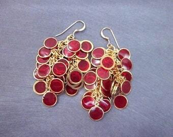 Red & Gold Dangle Earrings -- Red Cluster Earrings -- Epoxy Earrings -- Long Red Earrings -- Red Circle Earrings -- Unique Red Earrings