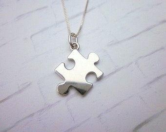 Puzzle Piece Necklace -- Silver Puzzle Necklace -- Autism Awareness Necklace -- Puzzle Charm Necklace -- Sterling Puzzle Necklace