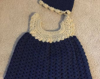 Tan and navy dress with beanie