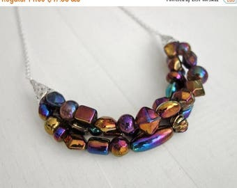 Summer Sale Statement bib necklace chunky bib necklace purple bronze glass beads statement necklace for women