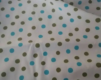 Green and Turquoise Polka Dots Silky Vintage Fabric Yardage