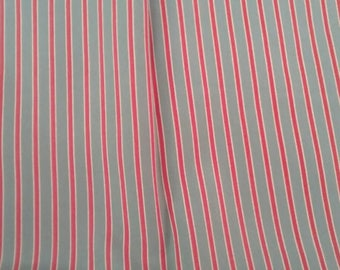 Red and Grey Stripe Silky Vintage Fabric Yardage