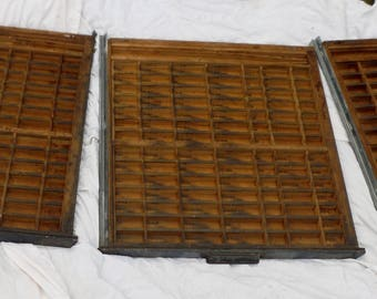 Lot of 3 Vintage Printer's Letterpress Type Tray Drawer Shadow Box - Brass Accents - Metal Handle - 99 Compartments