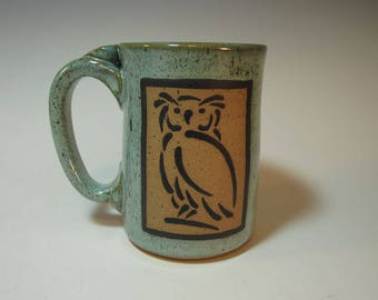 Speckled Aqua Owl Mug with Four-Finger Handle - hand made IN STOCK ready to ship