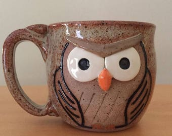 Speckled Tan Owl Mug - hand made IN STOCK ready to ship