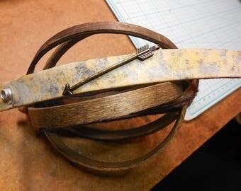 Grunged Arrow Leather Cuff