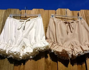 Ivory or light tan bloomers with ivory lace and ruffles