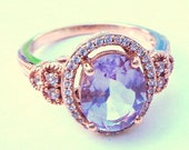 Sz 7, Solid Rose Gold, Oval Cut, Natural Pink Amethyst Ring, White Sapphire Halo, Victorian Design, New Setting, 10K Gold Ring
