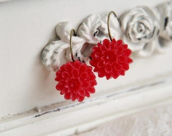 Red Dahlia/ Resin Flower/ Earrings/ Bridesmaids