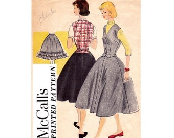 McCall's 9863 Teen Weskit Skirt & Petticoat Vest Gored Skirt Crinoline 50s Vintage Sewing Pattern Size 16 Bust 34 inches
