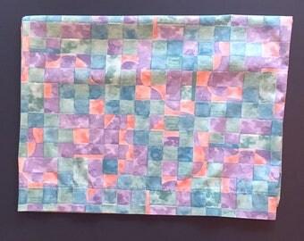Vtg King Size Pillowcase - Geometric Squares Design - Pink Blue Purple - Springmaid