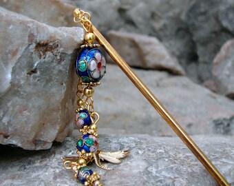 Blue Cloisonne Hair Stick with Gold Dragonfly Charm Hair Chopstick Oriental Hair Accessory Dark Blue Pic Hair Sticks Hairstick - Asha 2757