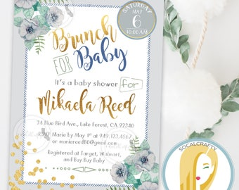 Baby Shower Brunch Invitation, Baby Boy, Watercolor Invite, Gold Leaf, Confetti, Blue Grey Green, DIY, Printed or Printable Invitations