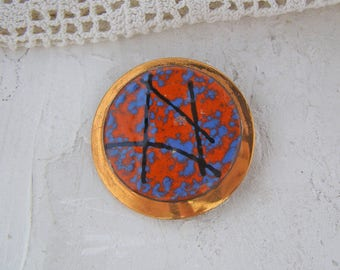Vintage Copper and Enamel Art Pin Brooch Orange Blue Black Round Abstract Jewelry