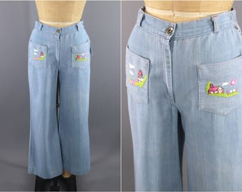 Vintage 1960s Embroidered Jeans / 1970s Bell Bottoms / 60s Hippie Jeans / 70s High Waisted Jeans / Boho Jeans