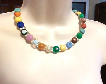Spark of Color button necklace