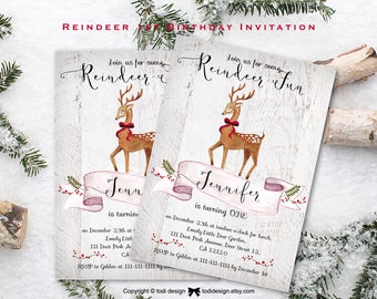 Reindeer Birthday Invitation, Christmas Birthday Invitation, Reindeer First Birthday, Deer, Winter Birthday, First Birthday Party Invitation