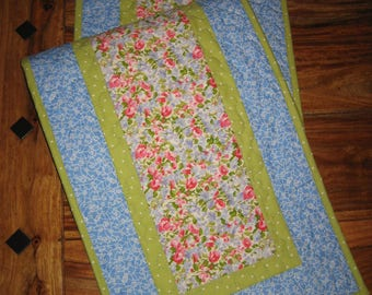 """Shabby Chic Quilted Table Runner, Pastel Pink Blue Green 13 x 47"""", 100% cotton fabrics"""