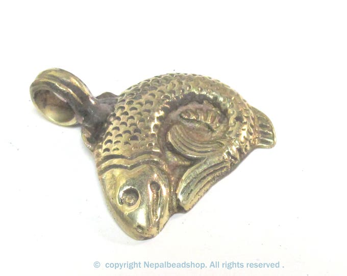 1 Pendant - Tibetan Brass golden fish  pendant with butterfly design on back side  - PM602B