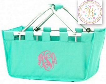 Large Mint Market Tote basket embroidered with Name or Monogram