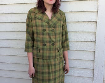 Green Plaid Suit Skirt Jacket Set Vintage M L