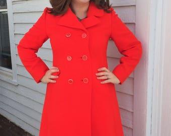 Mod Red Wool Jacket Double Breasted Coat JC Kramer Rubel Vintage 70s M