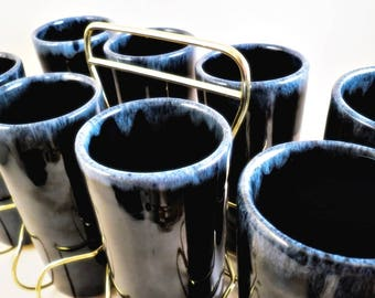 8 Van Briggle TUMBLERS Dark Blue Foam Drip Glaze and Carrier COLORADO