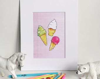 Ice Creams on Pink, Silly Food Art