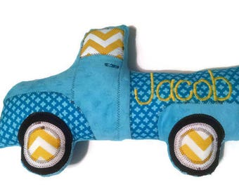 Pickup Truck Pillow, Personalized, Custom Truck Plush Pillow, Toddler Plush Toy, Baby Shower Gift, Custom MADE TO ORDER