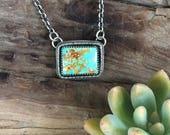 Rectangle Turquoise Necklace, Southwestern Necklace, Southwestern Jewelry