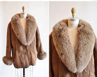25% off Storewide // Vintage 1980s FOX & Shearling wool coat
