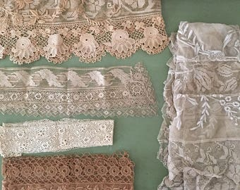 rare antique lace lot for sewing or doll making