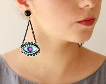 Eye earrings , Blue Evil eye earrings , Trendy jewelry lightweight , Dangle statement earrings for her naama brosh free shipping