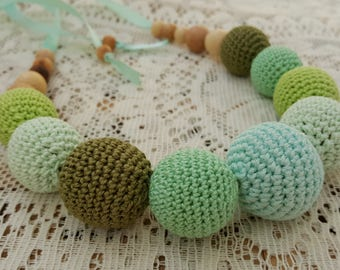 Fresh spring green shades breastfeeding necklace Nursing Necklace Teething