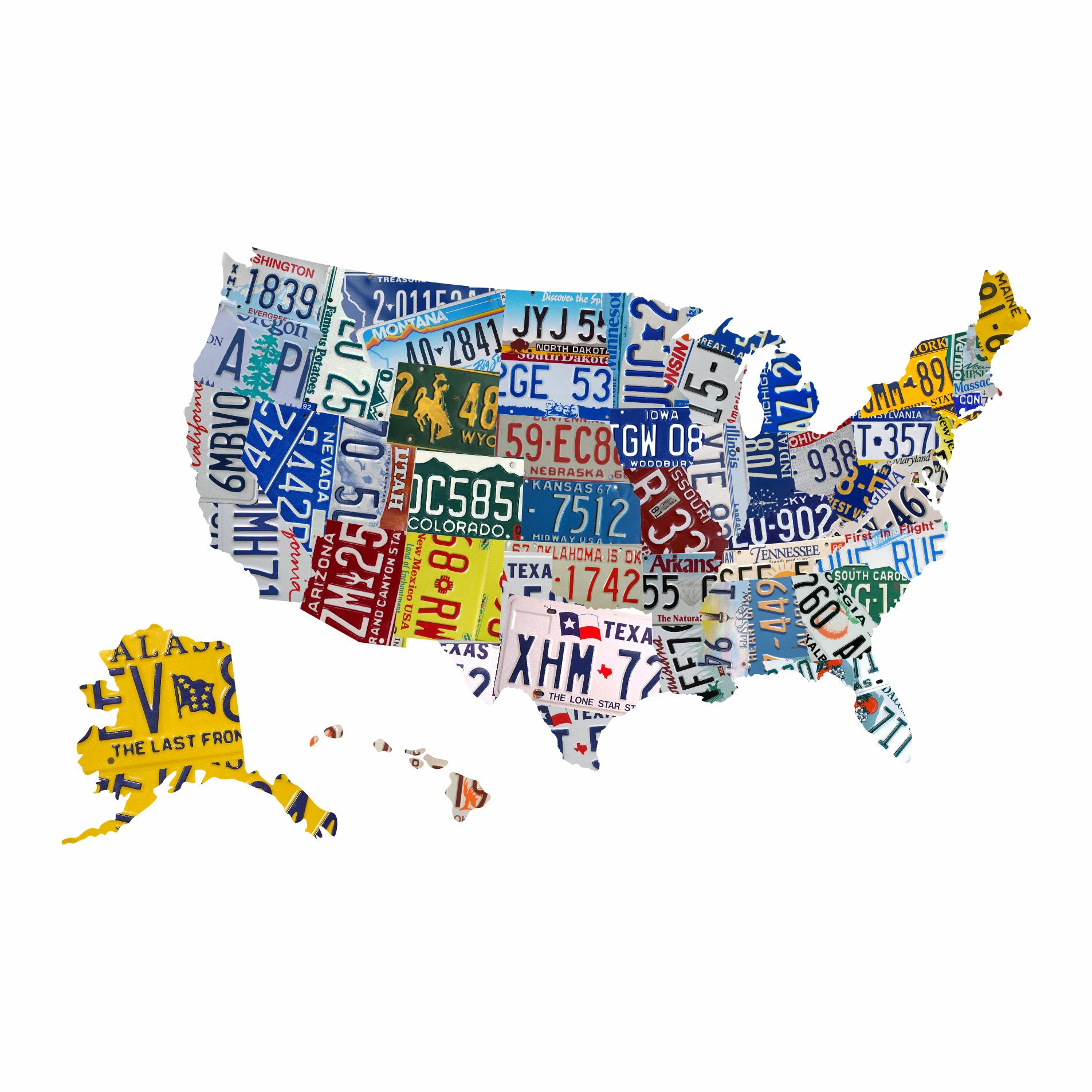 Map Wall Decal US License Plate Map US Map Wall Decal License - Us licence plate map