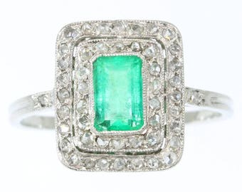 Emerald Ring, Emerald .80ct diamond engagement ring rectangular platinum rose cut diamonds French Art Deco ring vintage 1920s jewelry