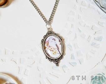 Antique Silver Bluebird Cameo Necklace, Silver Bluebird Necklace, Blue Bird Necklace, Bird Keeping Gift, Bird Watching Gift, Silver Bird